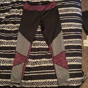 Black, Grey, and Purple Color Block Leggings